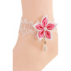 Bauhinia Pink White Lace Flower Girl Anklets