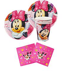 56pcs Minnie Mouse Baby verjaardagsfeestje decoraties kinderen evnent partij levert partij decoratie 18 mensen gebruiken