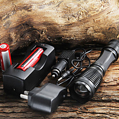 CREE XM-L T6 1800 Lumens Focus Verstelbare Torch Zoomable LED zaklamp + 18650 batterij + AC / Car Charger