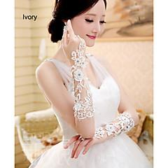 Wrist Length Fingerless Glove Tulle Bridal Gloves Spring / Summer / Fall / Winter Rhinestone