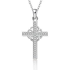 Elegant Style 925 sterling silver Flower Cross Pave Zircon Pendant Necklace for Women