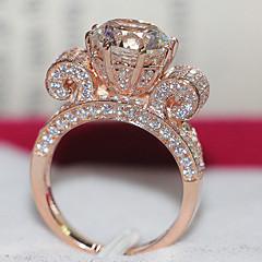 Anéis Mulheres Strass Prata de Lei / Pedaço de Ouro Rose Prata de Lei / Pedaço de Ouro Rose 4.0 / 5 / 6 / 7 / 8 / 9 / 10¼ / 11Como na