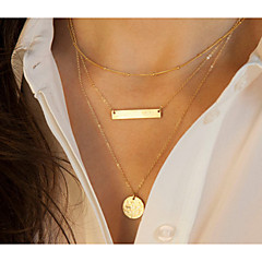 Women's European Style Fashion Geometric Shaped Metal Sequins Multilayer Alloy Necklace