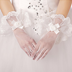 Wrist Length Fingertips Glove Lace Bridal Gloves Spring / Summer / Fall Appliques