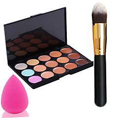 pro puolue 15 värit contour kasvovoide meikki peitevoide paletti + jauhe harjalla + power pullistaa