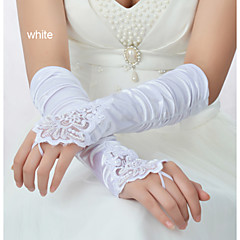Wrist Length Fingerless Glove Elastic Satin Bridal Gloves Party/ Evening Gloves Winter Gloves Spring Fall Winter Sequins Beading Pleated