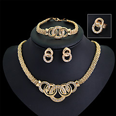 Lucky Doll Women's All Matching Luxury Gem 18K Gold Plated Necklace & Earrings & Bracelet & Ring Suit
