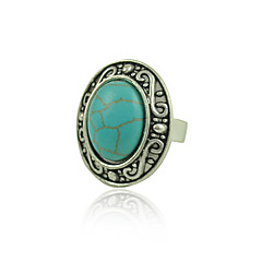 Ethnic Tibetan Silver Turquoise Rings Adjustable Oval Shape Rings