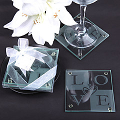 Love Glass Coaster with Heart Shape Set