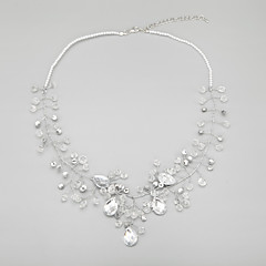 Women's Imitation Pearl/Alloy Necklace With Crystal/Imitation Pearl