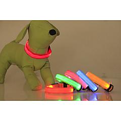 Katte / Hunde Krave LED Lys / Justérbar/Udtrækkelig Solid Rød / Grøn / Blå / Pink / Gul / Orange Nylon