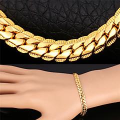 U7® Men's Gold Chain 18K Gold/Rose Gold/Platinum Plated Hip Hop Men Jewelry Gift 22'' Chain Necklace Bracelet Set