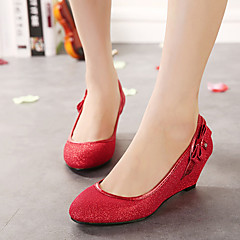 Women's Shoes Tulle Wedge Heel Wedges/Heels/Round Toe Pumps/Heels Wedding Red