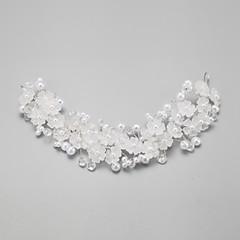 Vrouwen / Bloemenmeisje Kristallen / Licht Metaal / Imitatie Parel Helm-Bruiloft / Speciale gelegenheden Bloemen 1 Stuk Wit Rond