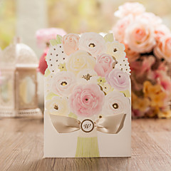 Personalized Double Gate-Fold Wedding Invitations Invitation Cards-50 Piece/Set Butterly Style / Floral Style Art PaperFlowers /