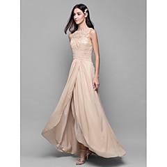 Lanting Bride® Asymmetrical Chiffon / Lace Bridesmaid Dress - A-line Bateau with Lace / Criss Cross
