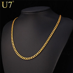 U7® Men's Stainless Steel Jewelry 18'' Gold Necklace 18K Real Gold Plated Simple Style Hip Hop Chain Necklace