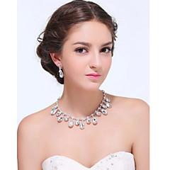 Conjunto de jóias Mulheres Aniversário / Casamento / Noivado / Festa / Diário / Ocasião Especial Conjuntos de Joalharia Prateado / Liga