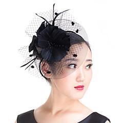 Dame Fjær / Imitert Perle / Polyester Headpiece-Bryllup / Spesiell Leilighet / Avslappet / Utendørs fascinators 1 Deler