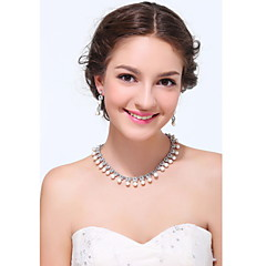 Women's Silver Alloy Imitation Pearl Rhinestone Cubic Zirconia Jewelry Set