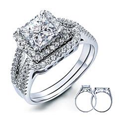 Herre Dame Parringe Elegant Sølv Kvadratisk Zirconium Fjer Firkantet form Smykker Til Bryllup Fest Daglig Afslappet