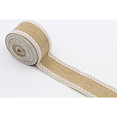 "4.5M 2"" (5 cm) Natural Jute Burlap Hessian Ribbon with Lace Trims Tape Rustic Wedding Decor Wedding Cake Topper"