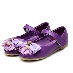 בנות שטוחות נוחות נעליים לילדת הפרחים דמוי עור אביב סתיו חתונה קזו'אל שמלה מסיבה וערב נוחות נעליים לילדת הפרחיםריינסטון פפיון פאייטים פרח