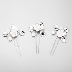 Mulheres Menina das Flores Strass Liga Imitação de Pérola Capacete-Casamento Ocasião Especial Alfinete de Cabelo 3 Peças