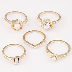 Women's Alloy Ring Imitation Pearl Exquisite Fashion Unique Rings Set(5 Pieces)