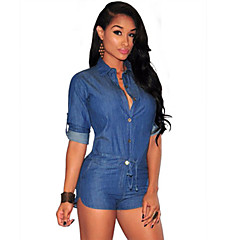 Women's Loose Rompers,Going out Sexy / Street chic Solid Denim Shirt Collar Long Sleeve Mid Rise Summer / Spring