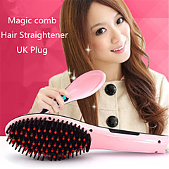 Professional Straightening Irons Come With LCD Display Electric Straight Hair Straightener Iron Brush Comb UK Plug