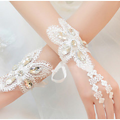 Wrist Length Fingerless Glove Lace Bridal Gloves / Party/ Evening Gloves / Flower Girl Gloves Spring / Summer / Fall Beading / Rhinestone