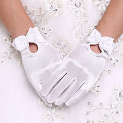 White Wrist Length Fingertips Glove Flower Tulle Bridal Gloves for Wedding Dress Accessories+DIY Pearls and Rhinestones