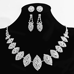 Women's Alloy Wedding/Party Jewelry Set 2 Pairs of Rhinestone Earrings 1 Crystal Necklace