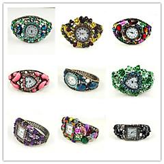 Round Shape Quartz Movement With Cubic Zirconia Bracelet Watch