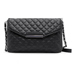 Women Quilted Shoulder Bag PU Leather Flap Front Crossbody Envelope Bag Clutch