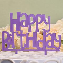 Decorações de Bolo Não-personalizado Monograma Plástico Duro Aniversário Lilás Tema Clássico 1 PPO