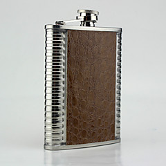 Stainless Steel Hip Flasks 8-oz Brown Middle Leather Flask