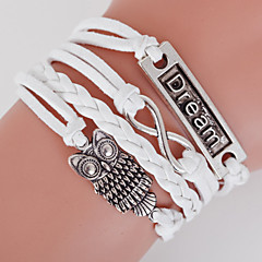 Retro Style Multilayer White Owl Animal Heart Love Weave Wrap Bracelet with Rivet