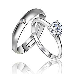 Anéis Casamento / Pesta / Diário Jóias Prata de Lei Feminino / Masculino / Casal Anéis de Casal 2pçs,Ajustável Prateado