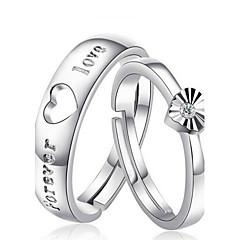 指輪 結婚式 / パーティー / 日常 ジュエリー 純銀製 女性 / 男性 / 夫婦 カップルリング 2 個,調整可 シルバー