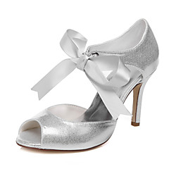 Women's Spring / Summer / Fall Heels / Peep Toe Synthetic / Canvas / Glitter Wedding / Dress / Party & Evening Stiletto Heel Lace-up