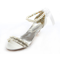 Women's Shoes Silk / Leatherette Low Heel Heels Heels Wedding / Party & Evening / Dress White / Beige