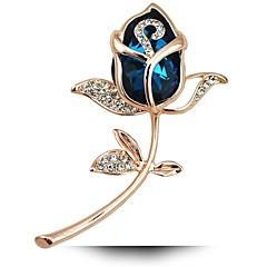 nyeste romantiske rose blomst broche forgyldt smykker til kvinder Emeral krystal pin brocher tørklæde tilbehør