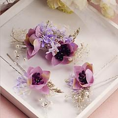 נשים סגסוגת בד כיסוי ראש-חתונה אירוע מיוחד סיכת שיער 3 חלקים