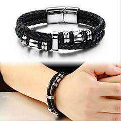 Titanium Leather Bracelet 18.5CM/20.5CM/22CM