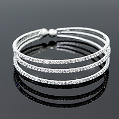 Women's Bangles Tennis Bracelet Elegant Bridal Multi Layer Crystal Zircon Rhinestone Alloy Circle Silver Jewelry ForWedding Party Daily
