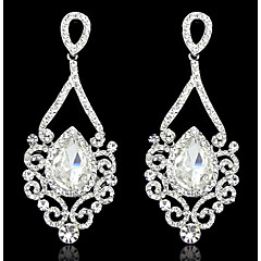 Lady's Multi-Stone Zircon Chandelier Drop Earrings for Wedding Party (Gold/Silver)