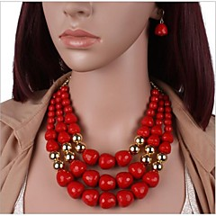 Multilayer Acrylic Resin Necklace Earrings Set