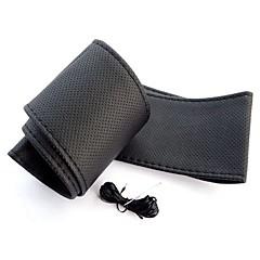 ziqiao universal anti-slip åndbart pu læder DIY bil auto rat tilfældet med nåle (37 ~ 38cm)